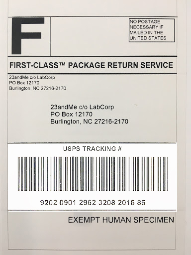 Usps Return Label >> Returning Your Sample To The Lab 23andme Customer Care